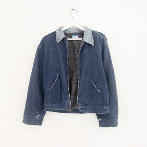 vintage 60s soft distressed blanket jean jacket M